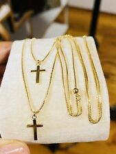 """K18 Japan Fine Gold 1 Pc. Double Layer Cross Necklace 16"""" 40cm Long 3.6g 1mm"""