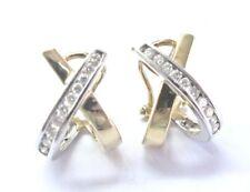 Fine Round Cut Diamond 2-Tone Gold X Huggie Earrings 14KT .50Ct