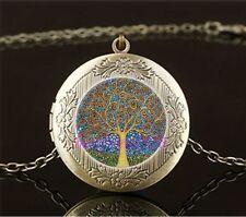 Tree Blue Yellow Cabochon LOCKET Pendant Bronze Chain Necklace USA Shipper #7