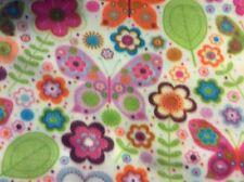 "Butterfly leaf flower fleece fabric on white, 60"" by 28"""