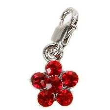 RED RHINESTONE FLOWER Charm ---- Mix and Mingle Charm with Lobster Clasp