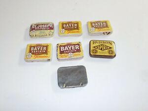 Lot of 7 Vintage Tins Aspirin Bayer Hudson St Joseph Empty