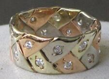 14K YELLOW WHITE PINK GOLD DIAMOND HAND WOVEN FLAT BRAID WEDDING RING  / BAND