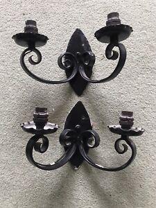 Vintage ANTIQUE Style PAIR Wall LIGHTS Black DOUBLE SCONCES