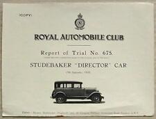 STUDEBAKER DIRECTOR CAR RAC Report of Trial No 675 1928 BROOKLANDS