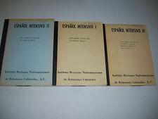 Espanol Intensivo 1, 2, and 4 Book Spanish Learning Workbook 1960's Mexcio