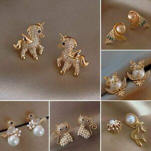Cute Cubic Zirconia Earrings Stud Fairy Horse Animal Pearl Gold Crystal Women