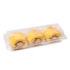 Slim Rectangular Clear Hinged Pastry Cake Dessert Food-Safe Storage Containers