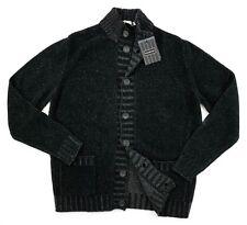 Men's ERMENEGILDO ZEGNA Black Wool Cotton Silk 7Btn Cardigan Sweater 52 / L NWT