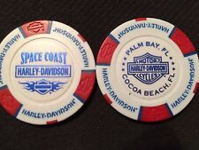 "Harley Poker Chip (White & Red) ""Space Coast"" Palm Bay / Cocoa Beach FL"