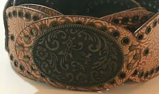 Western Leather Belt Floral Pattern Clasp Metal Buckle Size Large