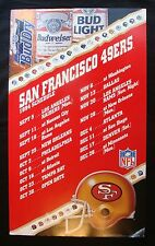 "1994 SAN FRANCISCO 49'ERS BUDWEISER CARDBOARD SCHEDULE DISPLAY 18x30"" SIGN"
