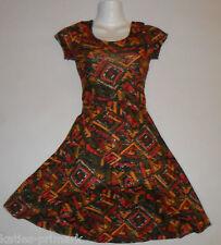 PRIMARK LADIES CAP SLEEVE TEA DRESS AZTEC ETHNIC TRIBAL NEW SIZES UK 6 - 12