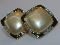 Carolee signed vintage large faux pearl enamel and rhinestone earrings