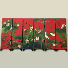 Mini Folding Panel Screen Room Divider Wooden Chinese Style Vintage Pattern Gift