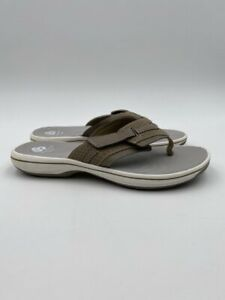 """Cloudsteppers by Clarks Size 7M Taupe """"Brinkley Reef"""" Flip-Flop Sandals, EUC"""