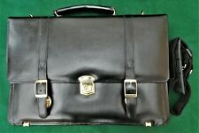 Ladies / Mens Black Faux Leather Briefcase Bag