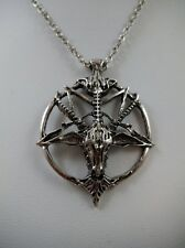 "Baphomet Pendant on 20"" Chain Goth Rockabilly Satanic Wiccan Pagan Black Metal"