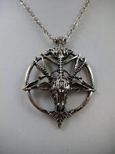 "Baphomet Pendant on 20"" Chain Goth Rockabilly Satanic Wiccan Pagan Black Metal"