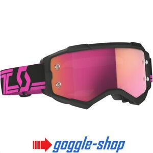 2021 Scott Furia Motocross MX Occhiali Nero - Rosa Cromo Lente a Specchio