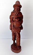 Vintage Hand Carved Barefoot Man Walking Carrying Food - Height 16""