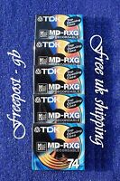 5 x BRILLIANT QUALITY TDK MD-RXG74 BLANK MINIDISCS - 74 MINUTES - NEW AND BOXED
