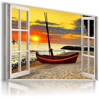 SUNSET BEACH SEA BOAT 3D Window View Canvas Wall Art Picture W46 MATAGA .
