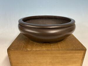"Round Unglazed Japanese Made Bonsai Tree Pot By Tazan 9 1/2 By 3"""