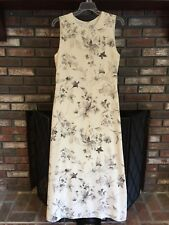 CHAUS SZ 6 WOMENS LINED MAXI DRESS TANK TOP GOWN CREAM GRAY FLORAL