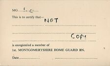 WW2 Registration card 1st Montgomeryshire Home Guard Battalion