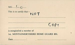 WW2 Registration card 1st Montgomeryshire Home Guard Battalion
