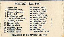 1946 Orig Cuban Baseball SCORE CARD  Boston-Cuba-Wash Series TED WILLIAMS-MINOSO