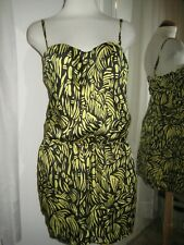 VICTORIA'S SECRET MODA INT'L BLACK & YELLOW SPAGHETTI STRAP DRESS, SZ 8, NEW