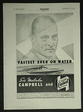 Malcolm Campbell Bluebird World Record Castrol Motor Oil 1937 Ad Advertisement