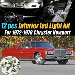 12Pc Super White Car Interior LED Light Bulb Kit for 1972-1978 Chrysler Newport