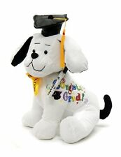 "Boys/Girls Graduation Autograph 10"" Stuffed Dog - Congrats Grad ! -Black"