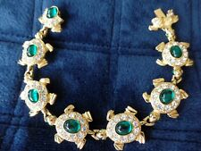 Vintage Joan Rivers Emeral Green Turtle Body Surrounded By Crystal Bracelet