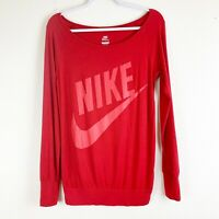 Nike Limitless Solid Red Long Sleeve Boatneck Womens Graphic Tshirt S