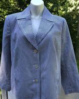 Talbots Womens Striped Blueish Gray/White Seersucker Cotton Blazer Jacket 24X