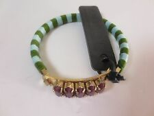 J.Crew Blue Green Rope Wrapped Gold bar Burg Crystal Hinge Cuff Bracelet NWT $49