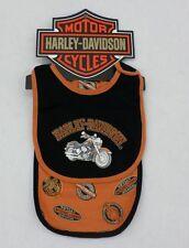 Harley-Davidson Newborn Black Bib and Orange Burp Cloth