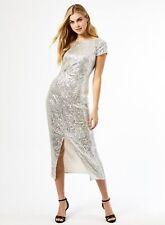 Dorothy Perkins Womens Silver Sequin Twist Midi Dress Short Sleeve Round Neck