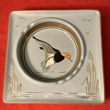Large Stangl Pottery Square Ashtray Redhead Duck Hunting Mid Century Modern WOW