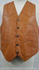 Mens Genuine Soft 100% Tan Leather Waistcoat / Biker Jacket Vest S,M,L,XL,XXL