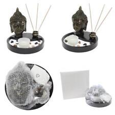 Tabletop Zen Garden Buddha Head Rock Candle Holder Incense Burner Home Decor