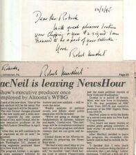 (2) Robert MacNeil Autographs Newspaper & Card MacNeil/Lehrer Report/ Journalist