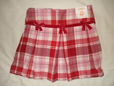 NWT Gymboree red and white plaid pleated skirt skort size 6 adj waist