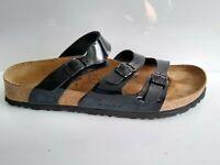 Birki's Birkenstock Womens Black Three Strap Slide Sandals Shoe Sz 39 US L8 M6