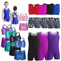 Girls Sequins Gymnastics Crop Top Shorts Ballet Leotard Dance Outfit Tankini Set