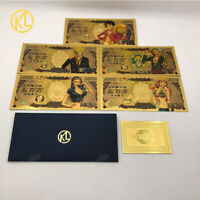 5 pcs/set One Piece anime gold banknote Japanese Cards for nice kid Toys Gift